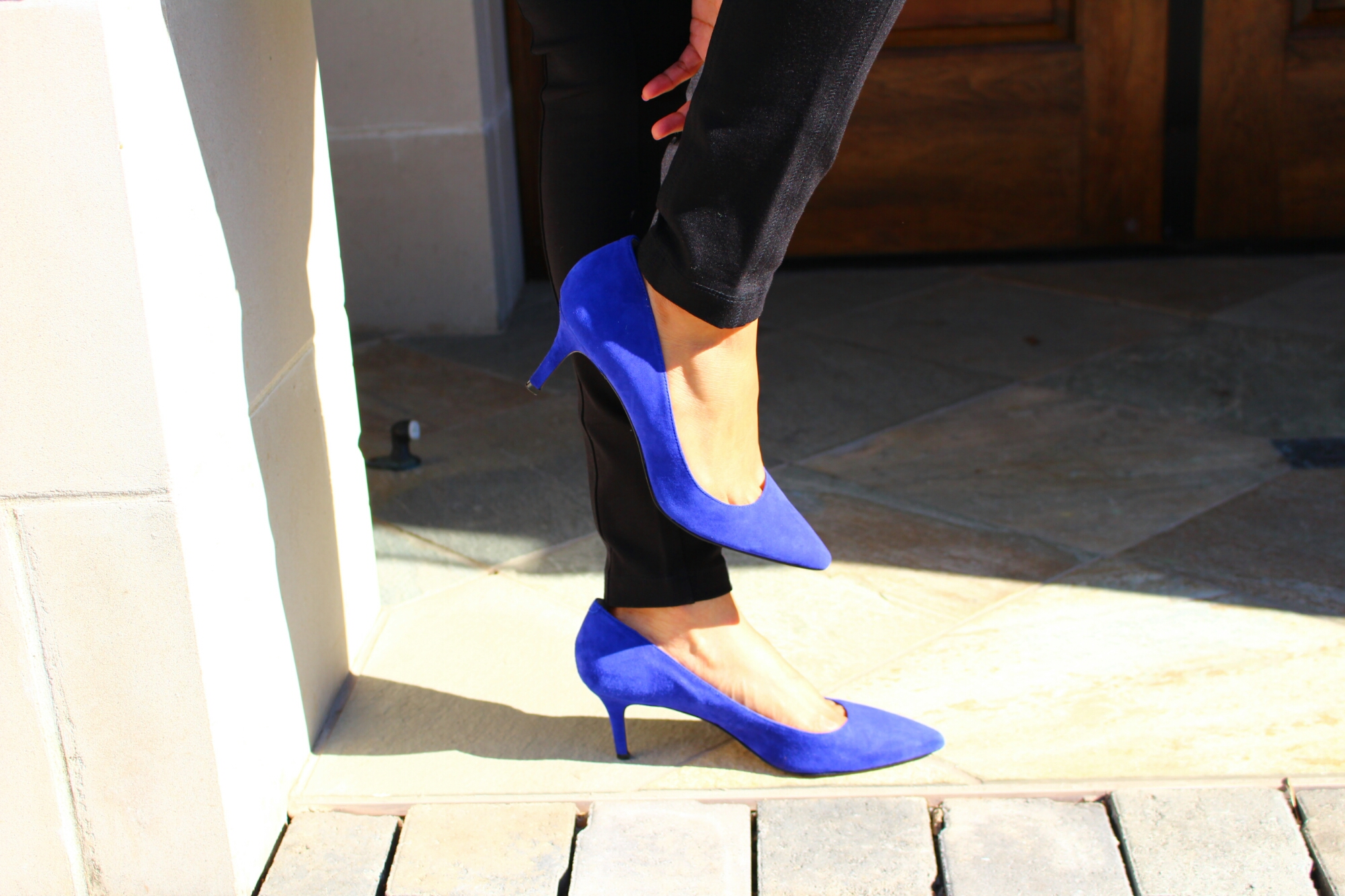 "Cobalt"" blue suede shoes – Pleats, Scalloped, & Lace"