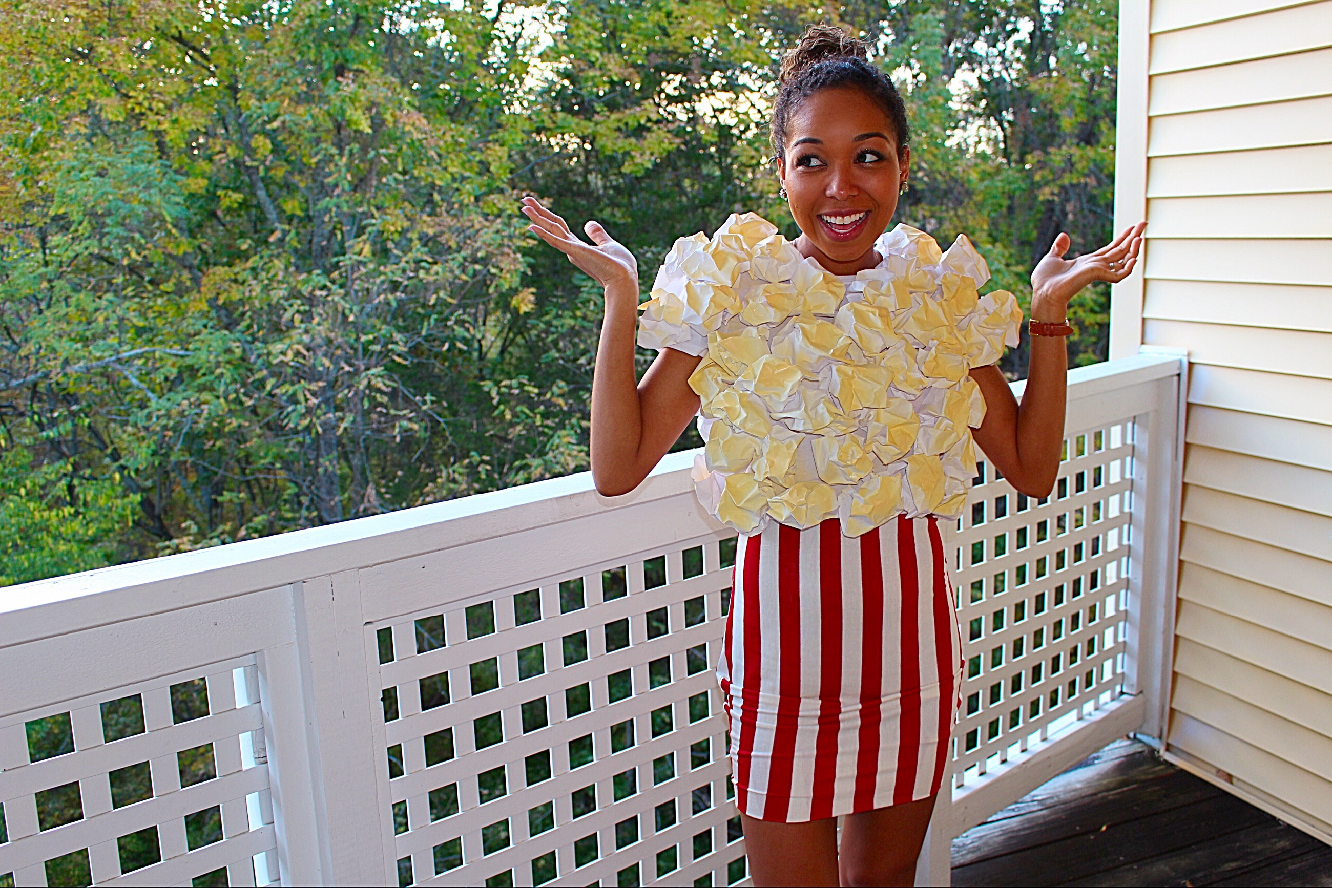 This year I am going to be POPCORN *excited face* not only is it one of my favorite snacks it is also very addicting. Every time I go to the movies or ...  sc 1 st  Pleats Scalloped u0026 Lace & DIY: Popcorn Halloween costume u2013 Pleats Scalloped u0026 Lace
